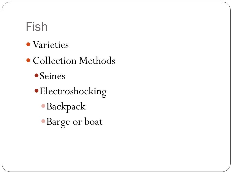 Fish Varieties Collection Methods Seines Electroshocking Backpack
