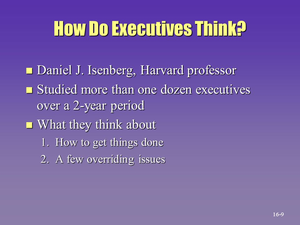 How Do Executives Think