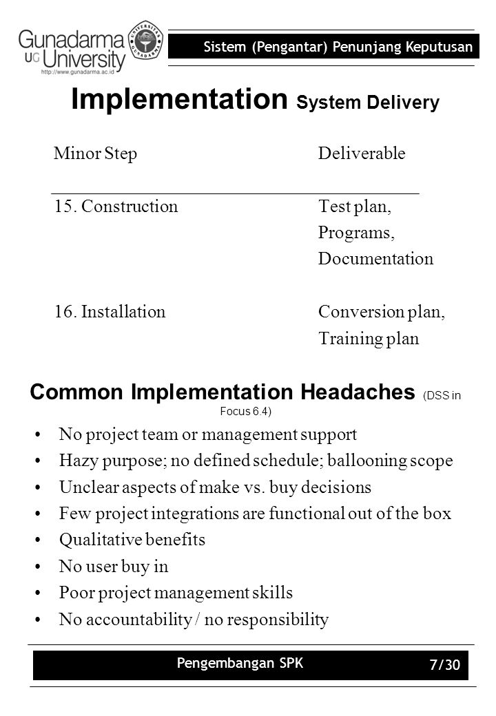 Implementation System Delivery