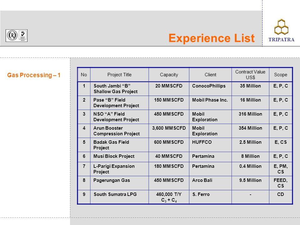 Experience List Gas Processing – 1 No Project Title Capacity Client