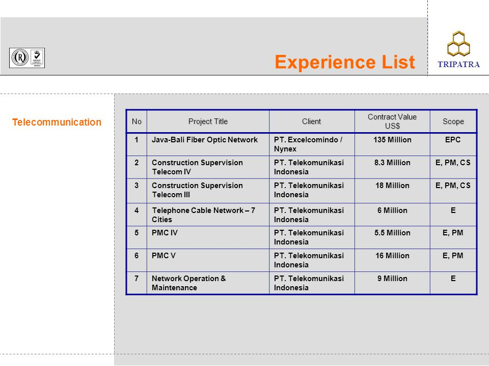 Experience List Telecommunication No Project Title Client