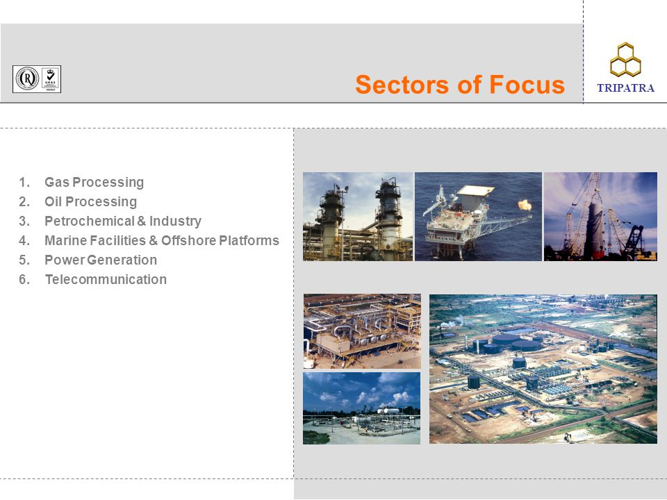 Sectors of Focus 1. 2. 3. 4. 5. 6. Gas Processing Oil Processing