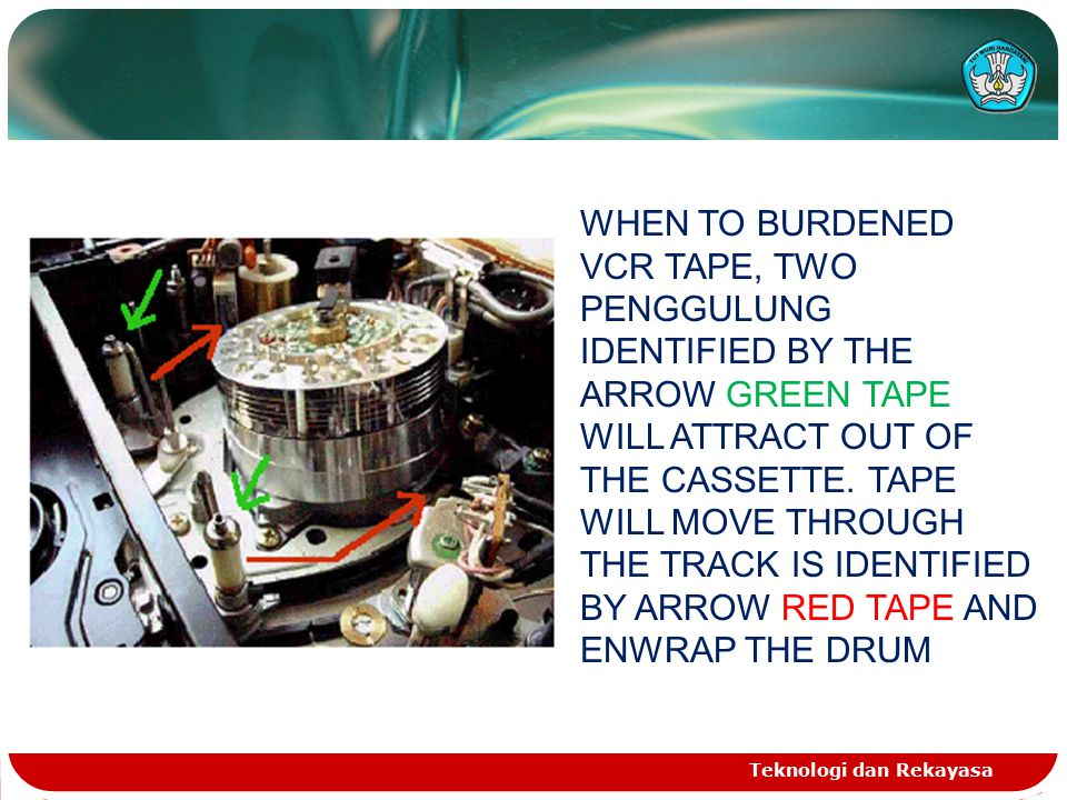 WHEN TO BURDENED VCR TAPE, TWO PENGGULUNG IDENTIFIED BY THE ARROW GREEN TAPE WILL ATTRACT OUT OF THE CASSETTE. TAPE WILL MOVE THROUGH THE TRACK IS IDENTIFIED BY ARROW RED TAPE AND ENWRAP THE DRUM