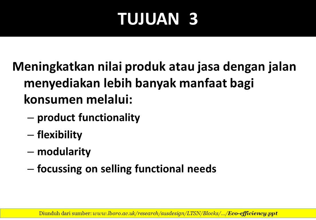 TUJUAN 3 Meningkatkan nilai produk atau jasa dengan jalan menyediakan lebih banyak manfaat bagi konsumen melalui:
