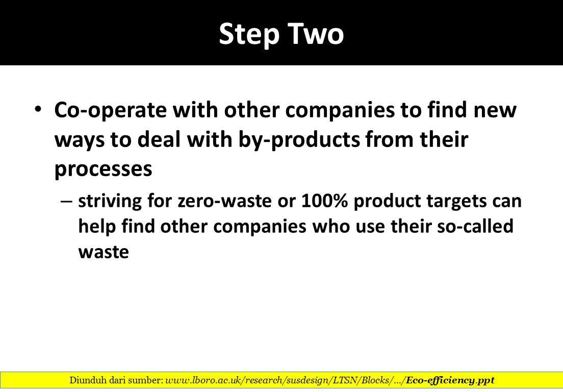 Step Two Co-operate with other companies to find new ways to deal with by-products from their processes.