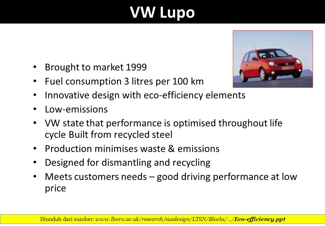 VW Lupo Brought to market 1999 Fuel consumption 3 litres per 100 km