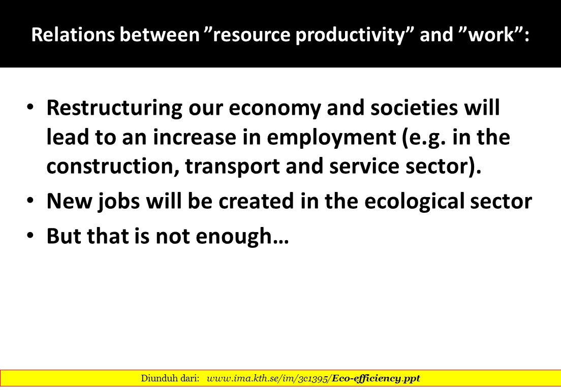 Relations between resource productivity and work :