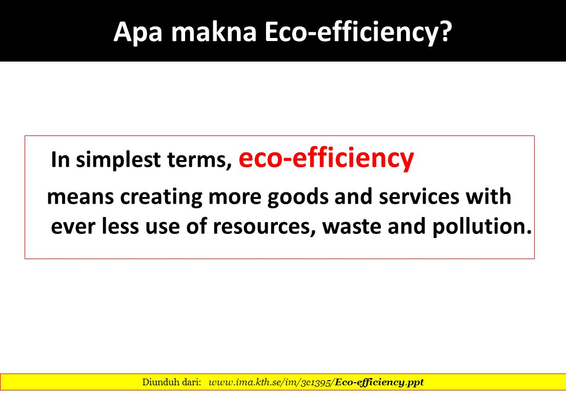 Apa makna Eco-efficiency
