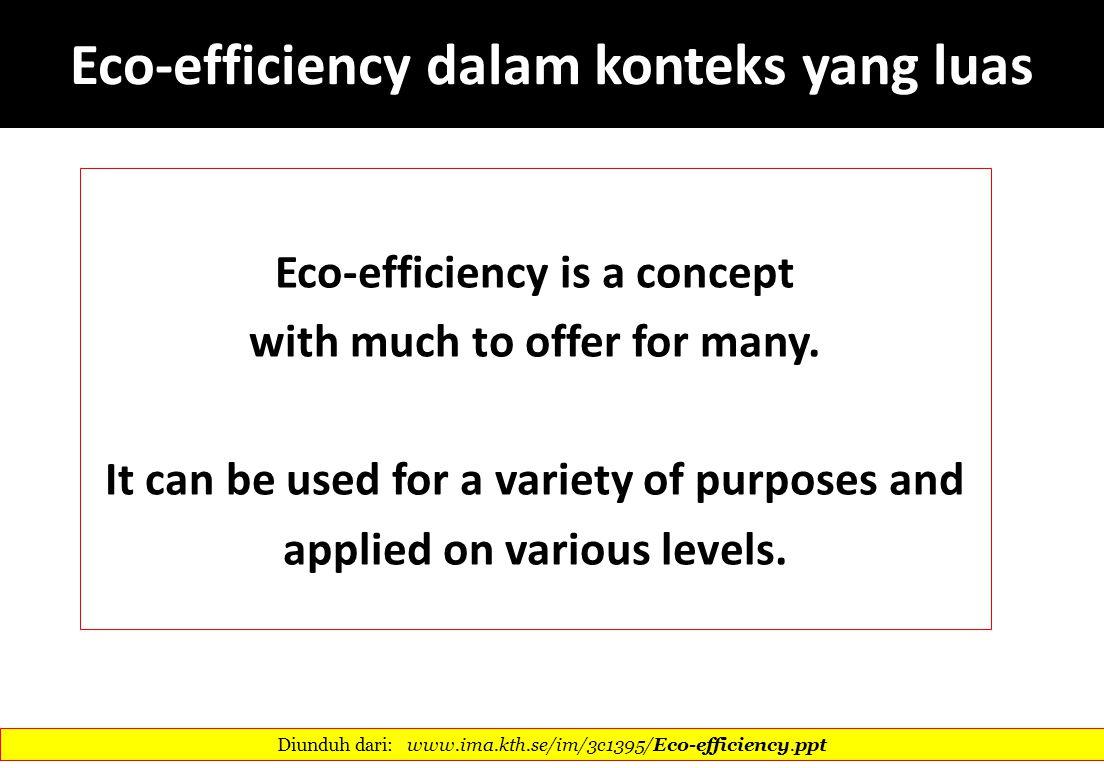 Eco-efficiency dalam konteks yang luas