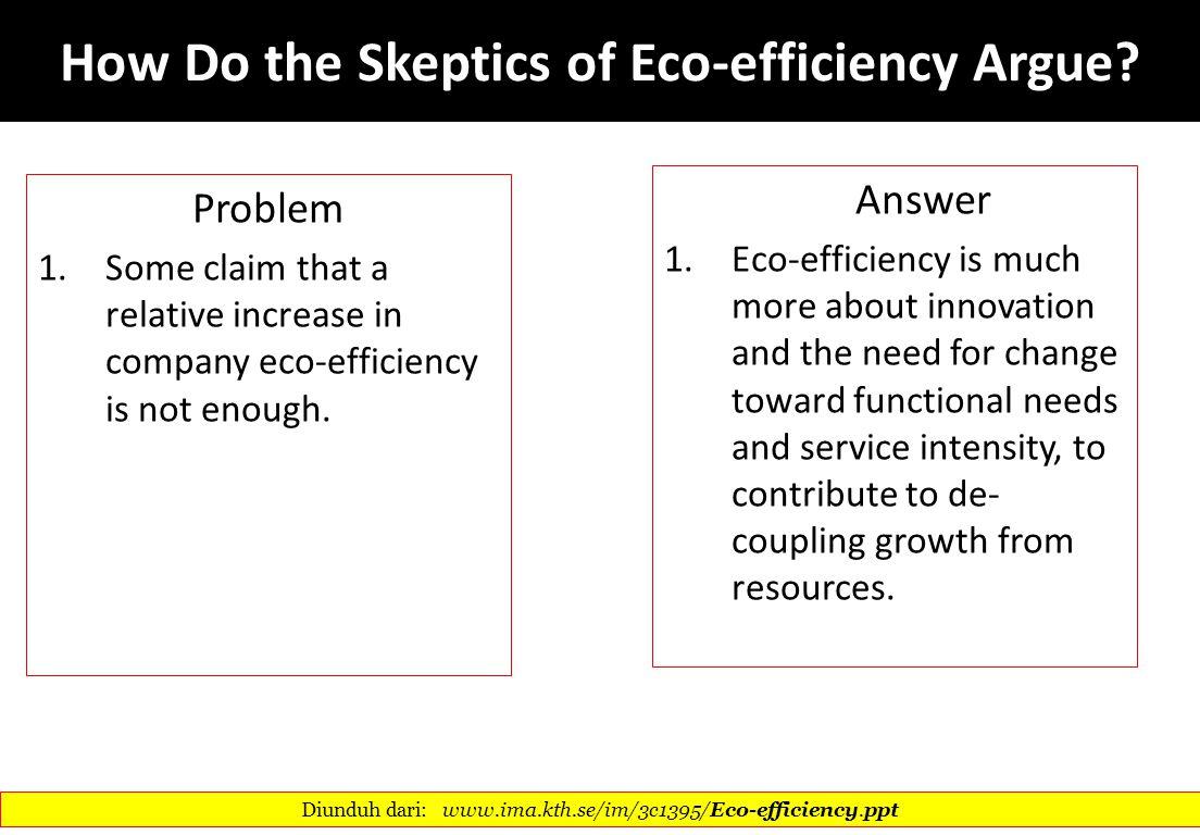 How Do the Skeptics of Eco-efficiency Argue
