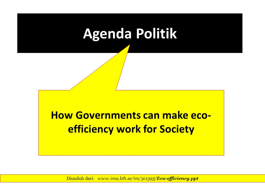 How Governments can make eco-efficiency work for Society