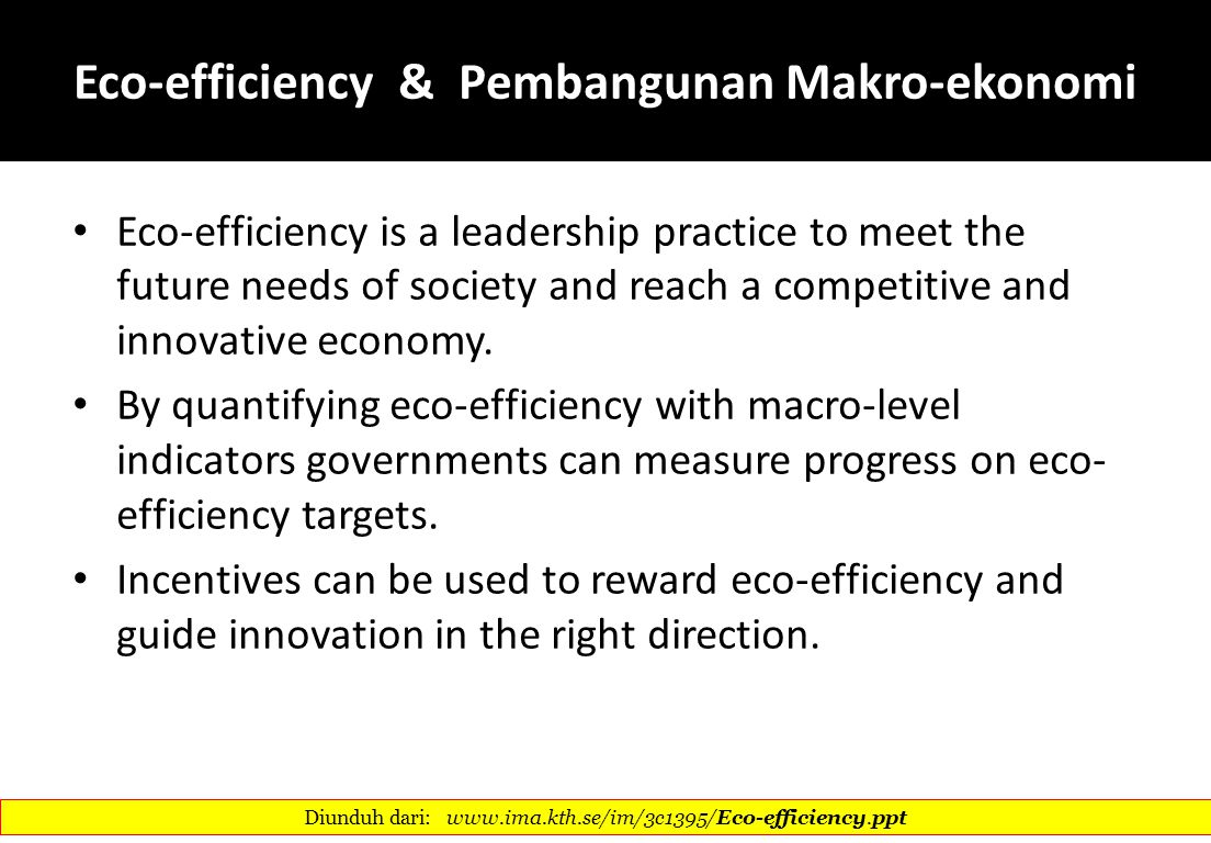 Eco-efficiency & Pembangunan Makro-ekonomi