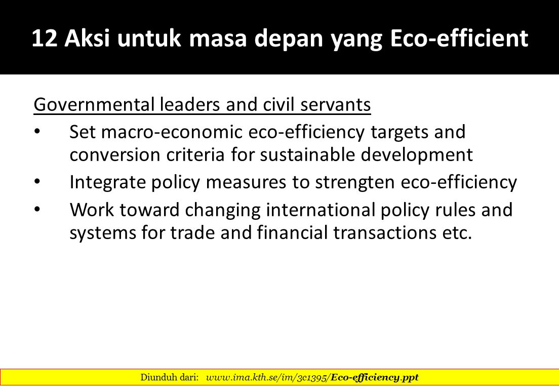 12 Aksi untuk masa depan yang Eco-efficient