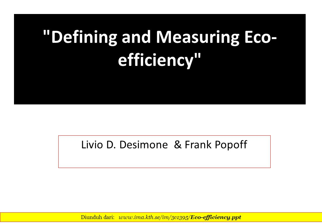 Defining and Measuring Eco-efficiency
