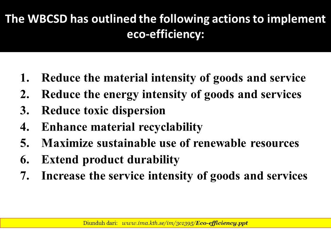 Diunduh dari: www.ima.kth.se/im/3c1395/Eco-efficiency.ppt