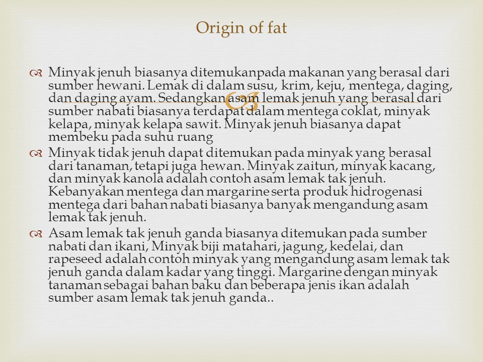 Origin of fat