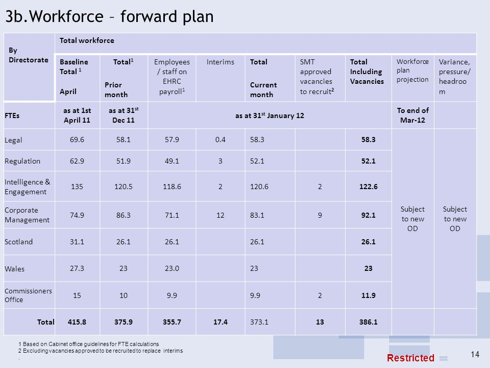 3b.Workforce – forward plan