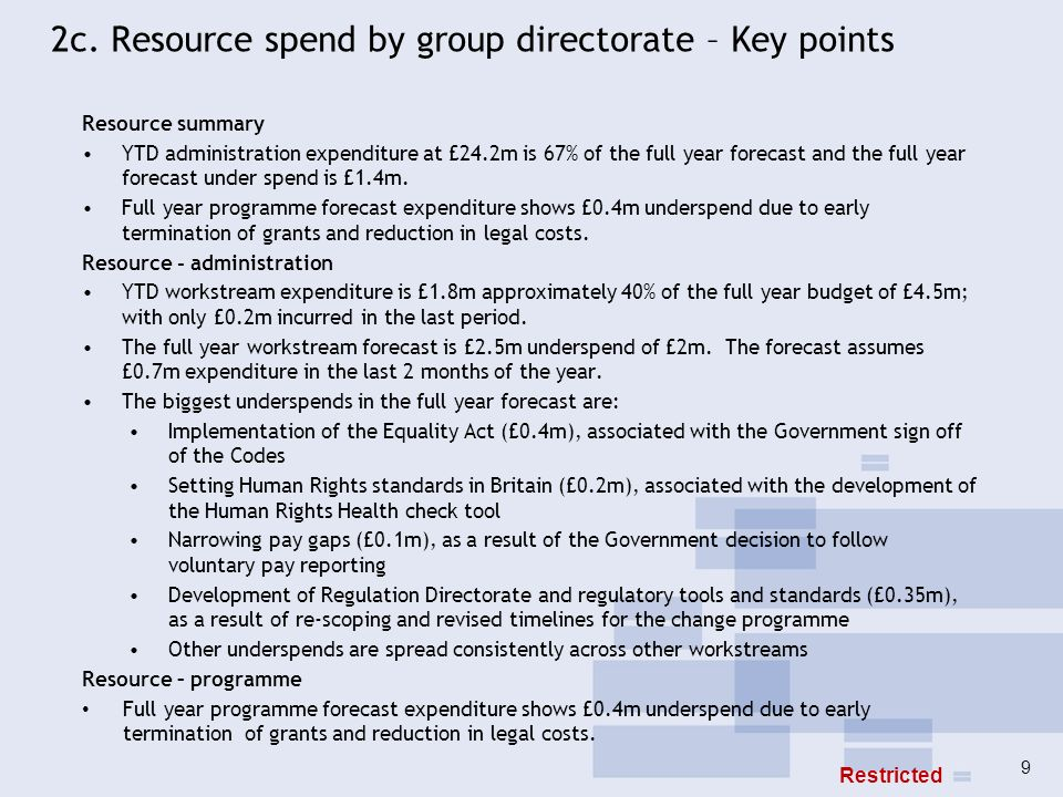 2c. Resource spend by group directorate – Key points