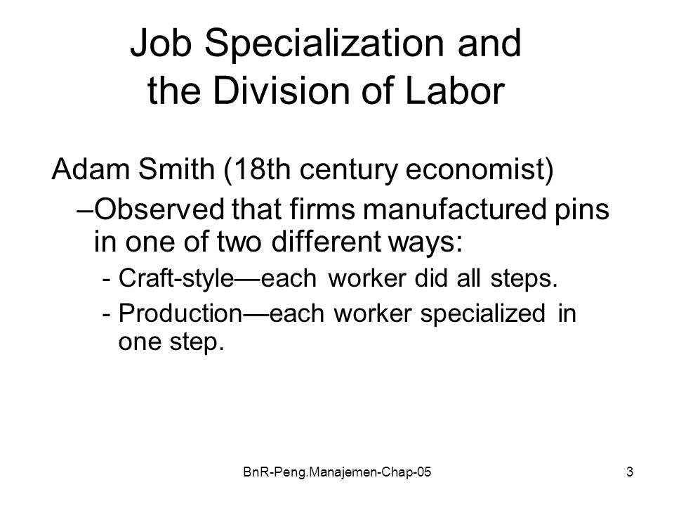 Job Specialization and the Division of Labor