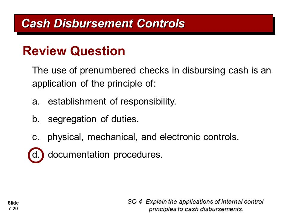 Review Question Cash Disbursement Controls