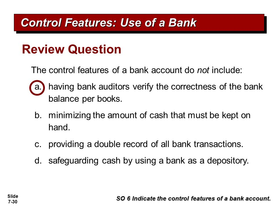 Review Question Control Features: Use of a Bank