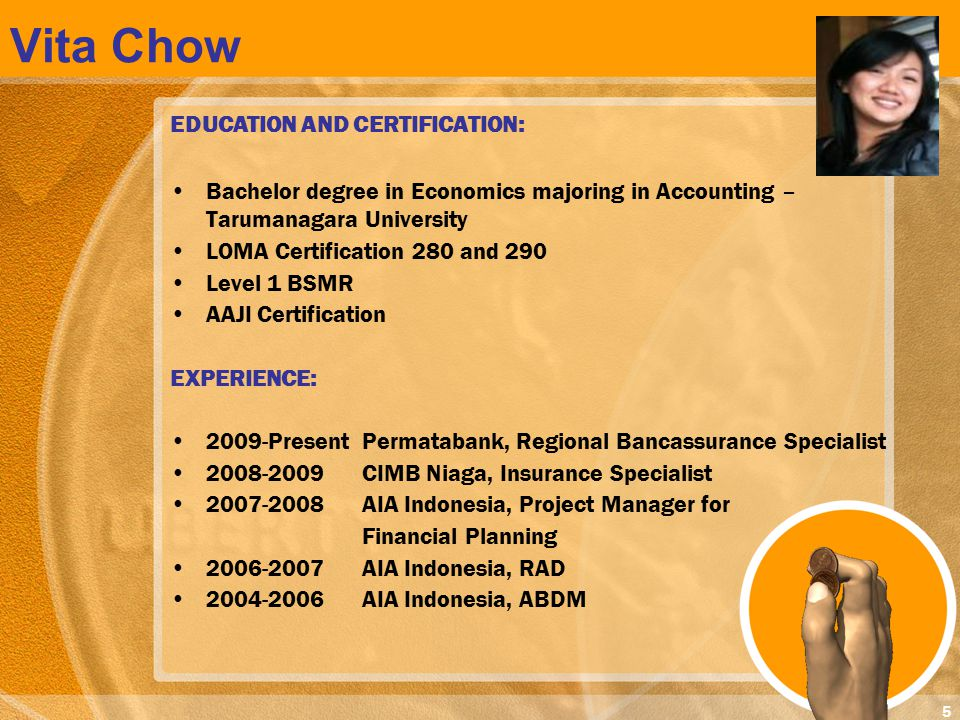 Vita Chow EDUCATION AND CERTIFICATION: