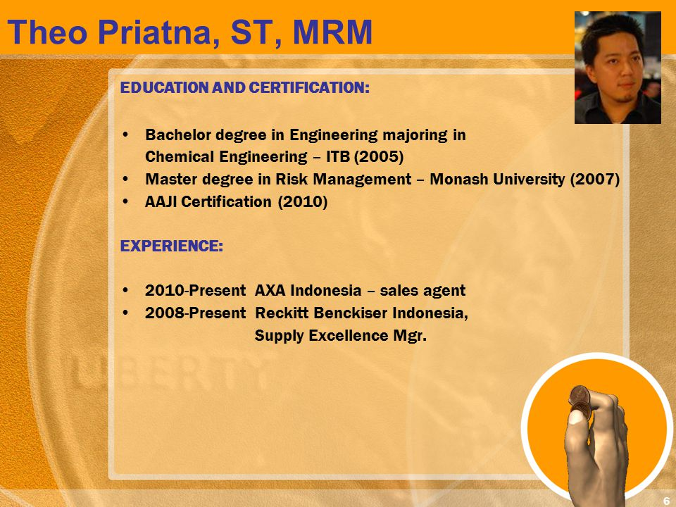 Theo Priatna, ST, MRM EDUCATION AND CERTIFICATION: