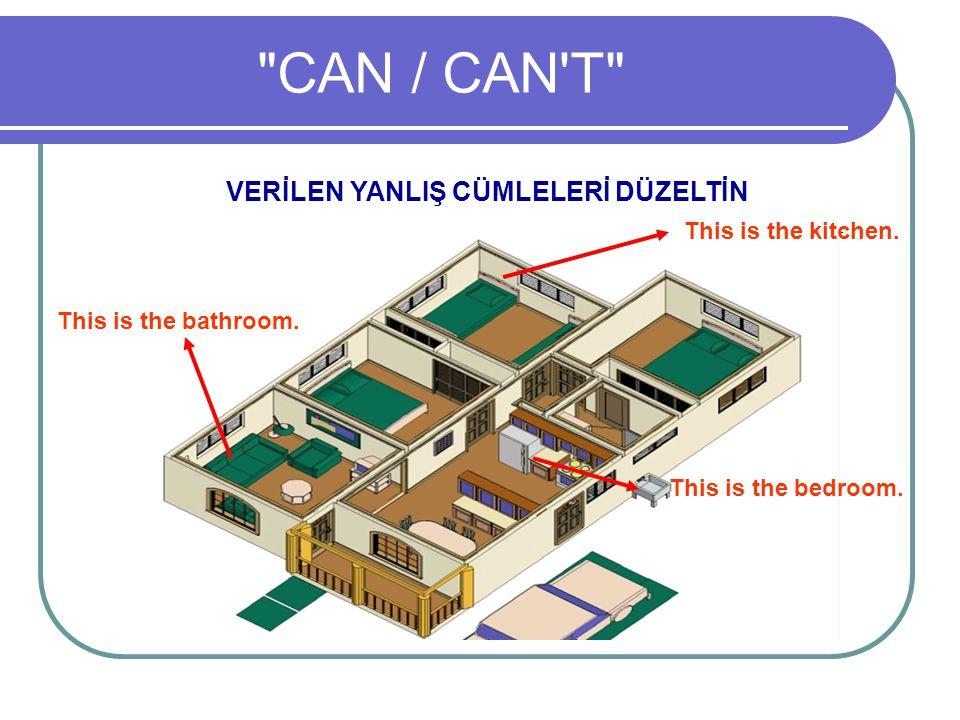 CAN / CAN T VERİLEN YANLIŞ CÜMLELERİ DÜZELTİN This is the kitchen.