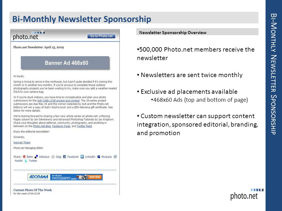 Bi-Monthly Newsletter Sponsorship