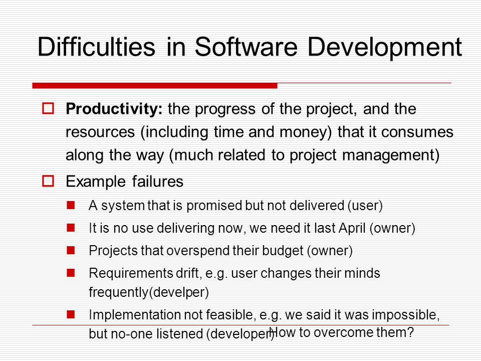 Difficulties in Software Development