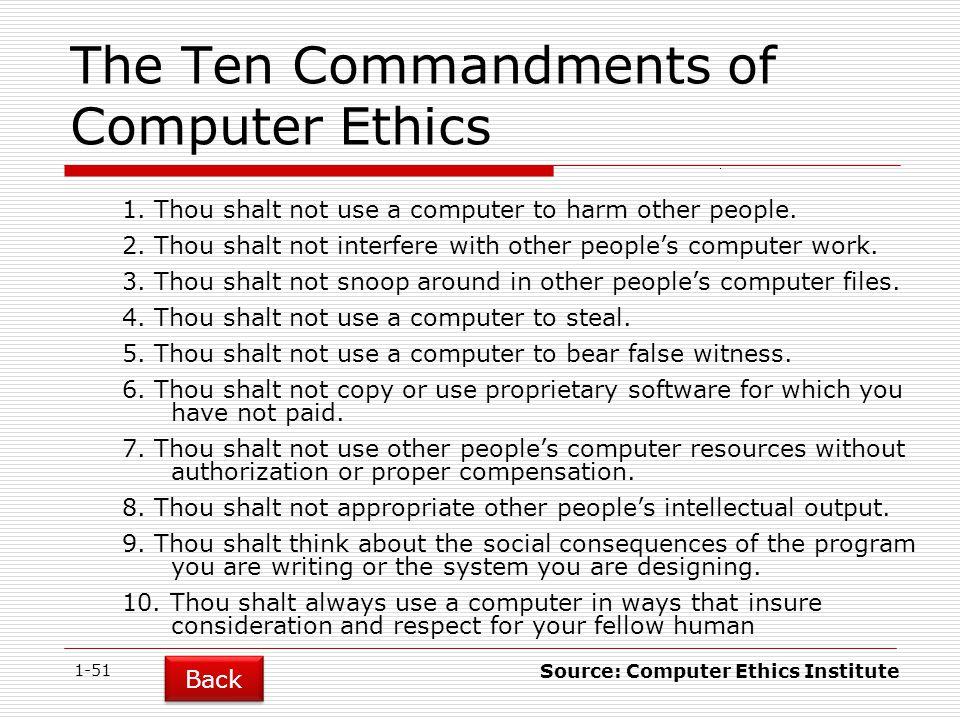 The Ten Commandments of Computer Ethics