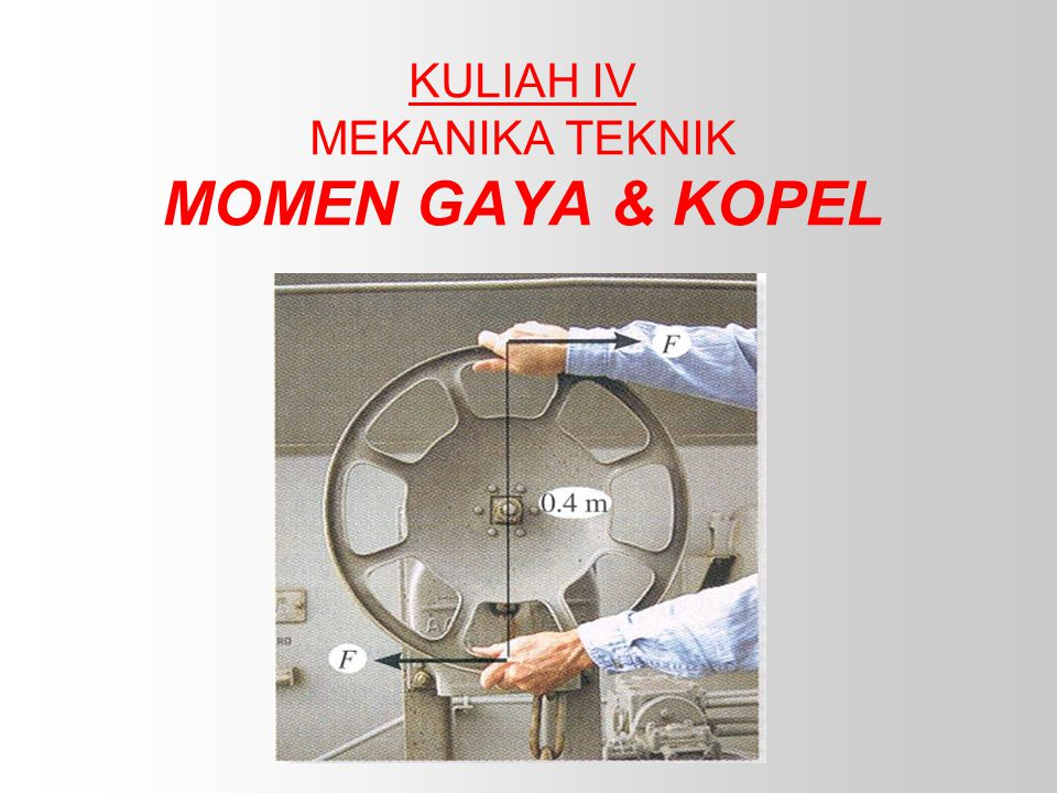 KULIAH IV MEKANIKA TEKNIK MOMEN GAYA & KOPEL