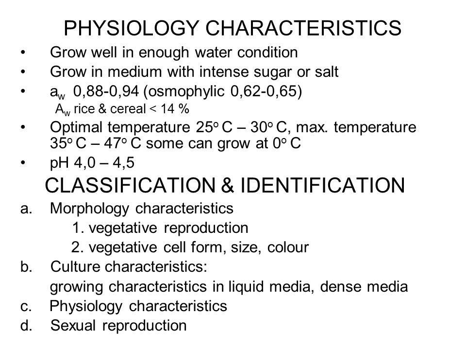 PHYSIOLOGY CHARACTERISTICS