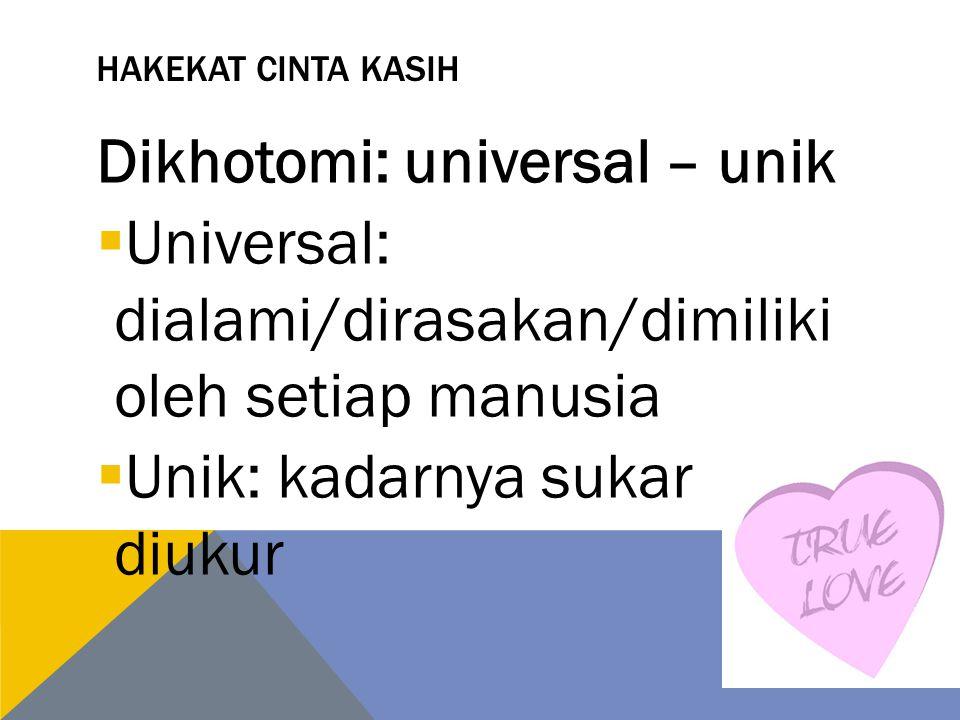 Dikhotomi: universal – unik