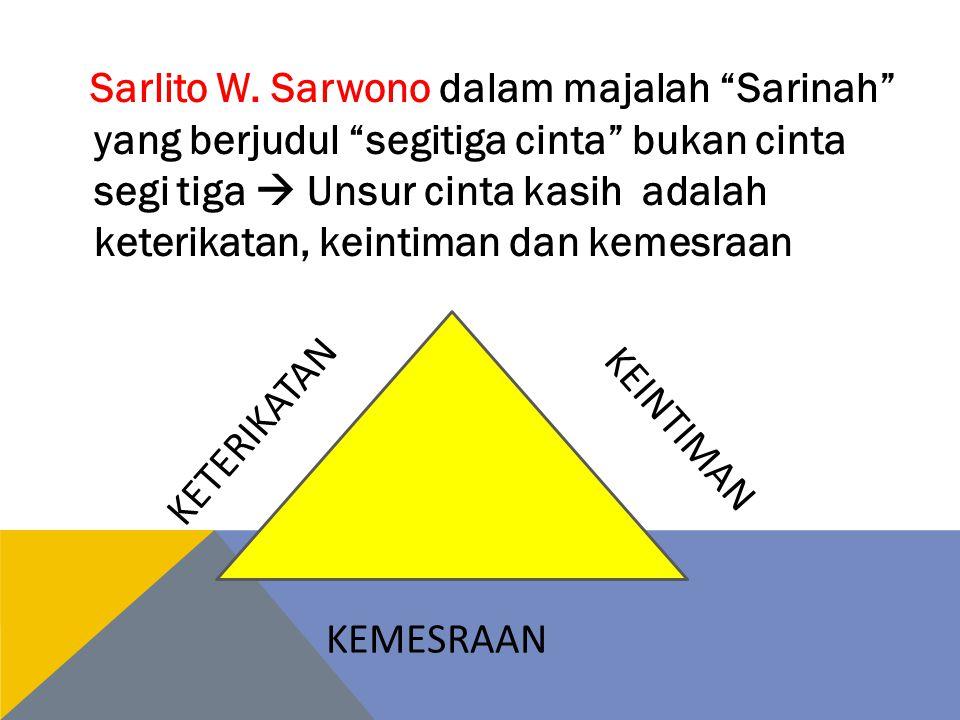 Sarlito W. Sarwono dalam majalah Sarinah yang berjudul segitiga cinta bukan cinta segi tiga  Unsur cinta kasih adalah keterikatan, keintiman dan kemesraan