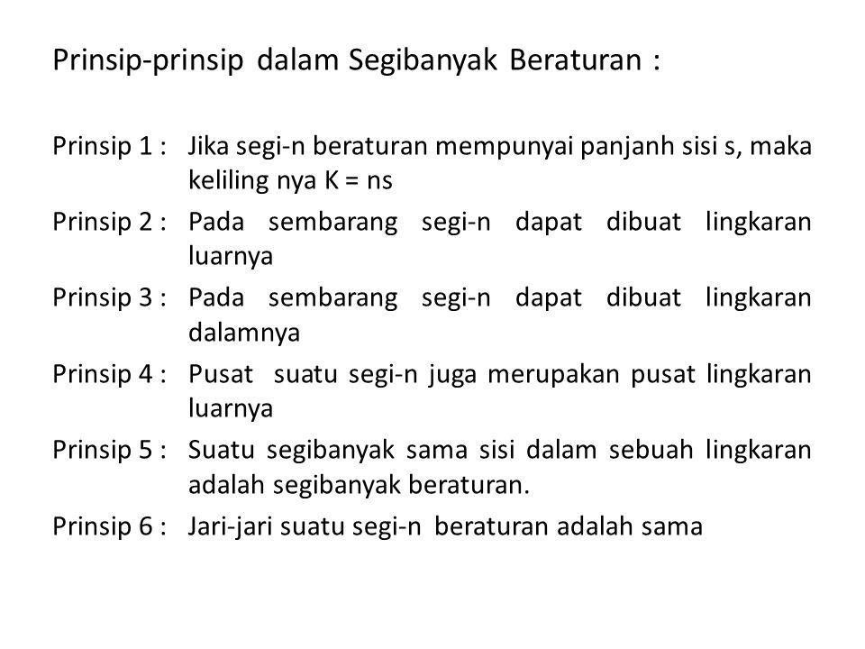 Prinsip-prinsip dalam Segibanyak Beraturan :