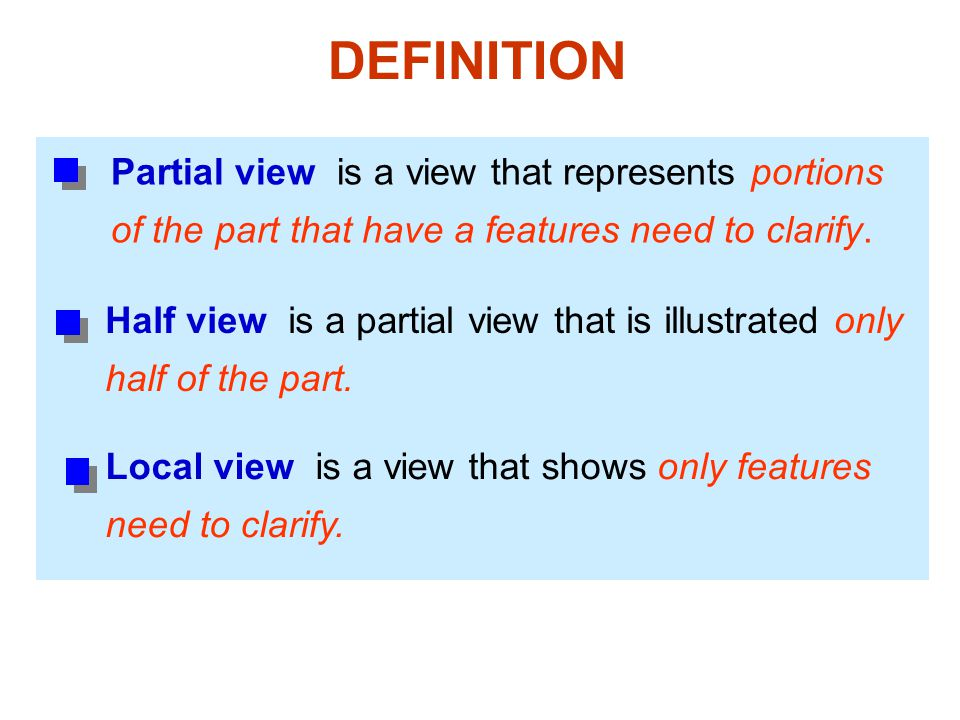 DEFINITION Partial view is a view that represents portions