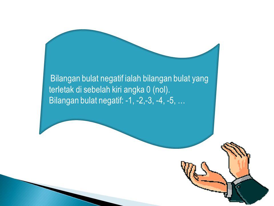 Bilangan bulat negatif: -1, -2,-3, -4, -5, …
