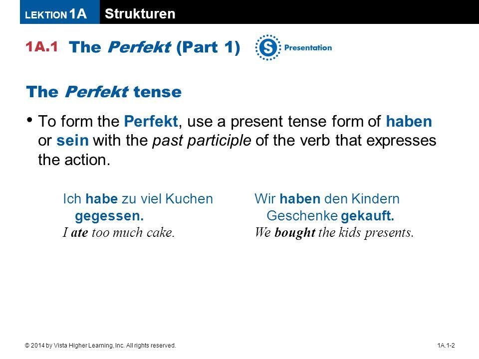 The Perfekt (Part 1) The Perfekt tense
