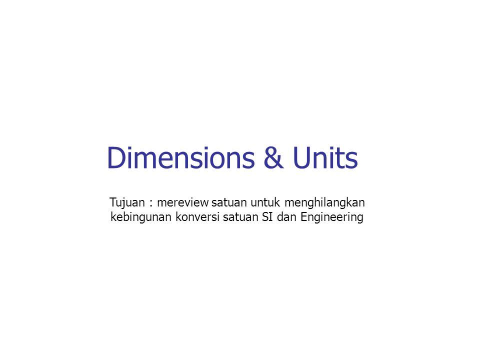 Dimensions & Units Tujuan : mereview satuan untuk menghilangkan kebingunan konversi satuan SI dan Engineering.