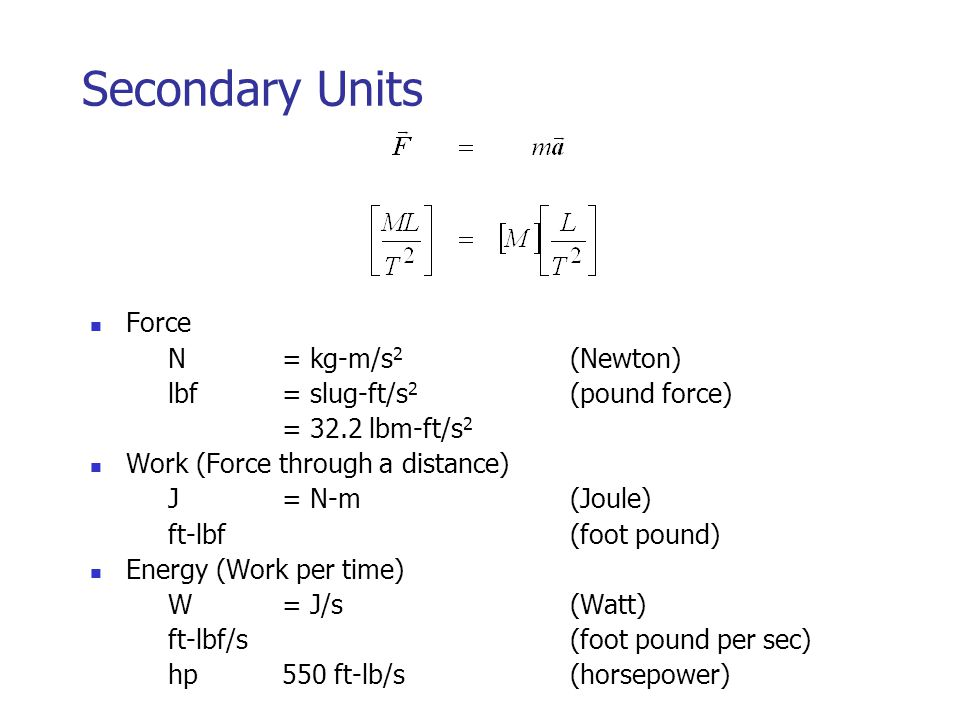 Secondary Units Force N = kg-m/s2 (Newton)