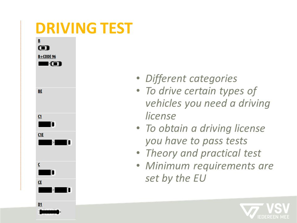 Driving test Different categories