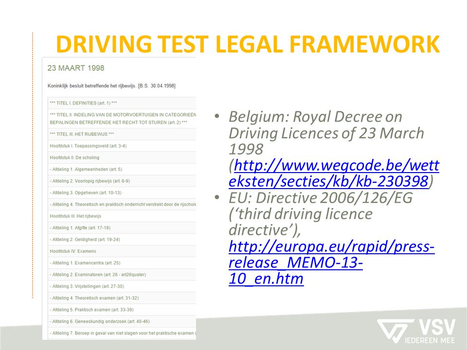 Driving test legal framework