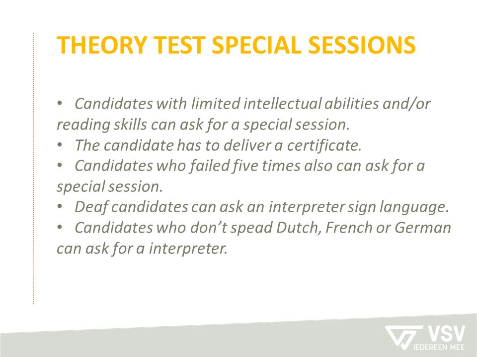 theory test special sessions