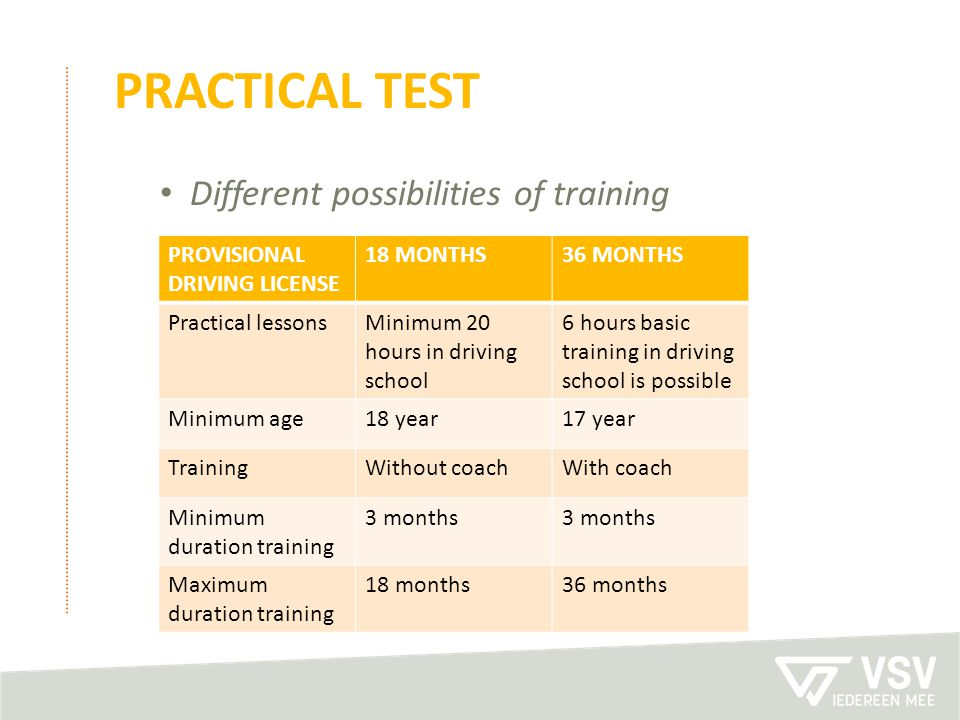 PRACTICAL test Different possibilities of training