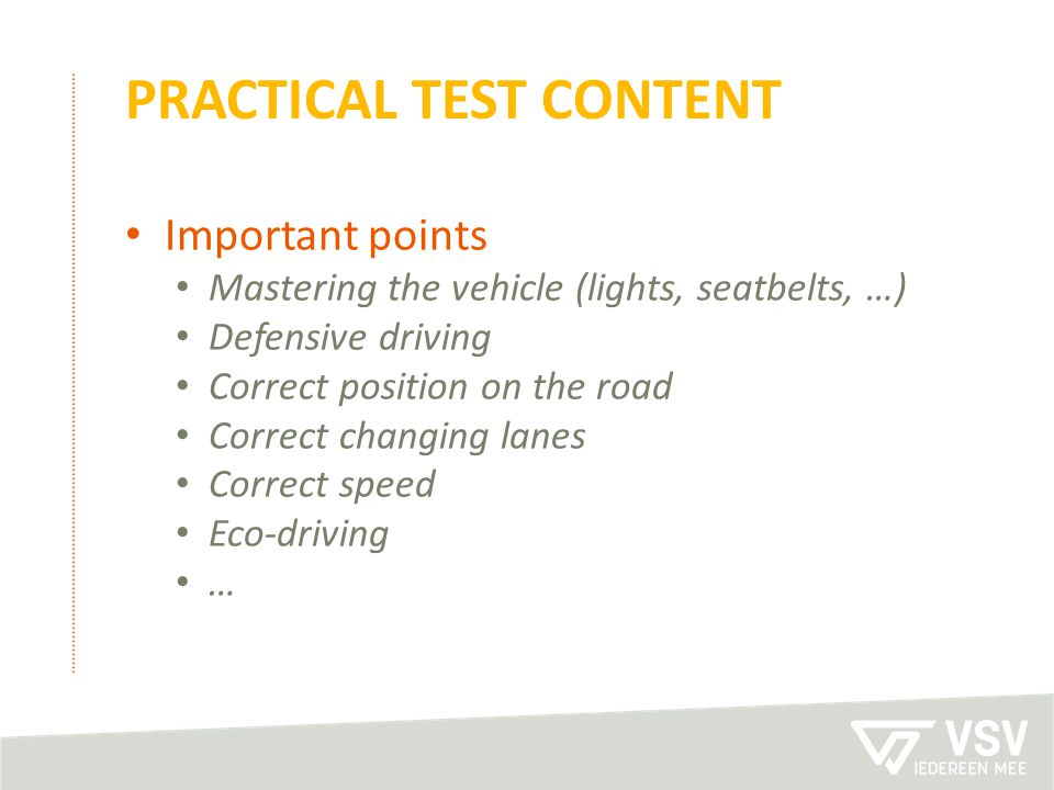 practical test content