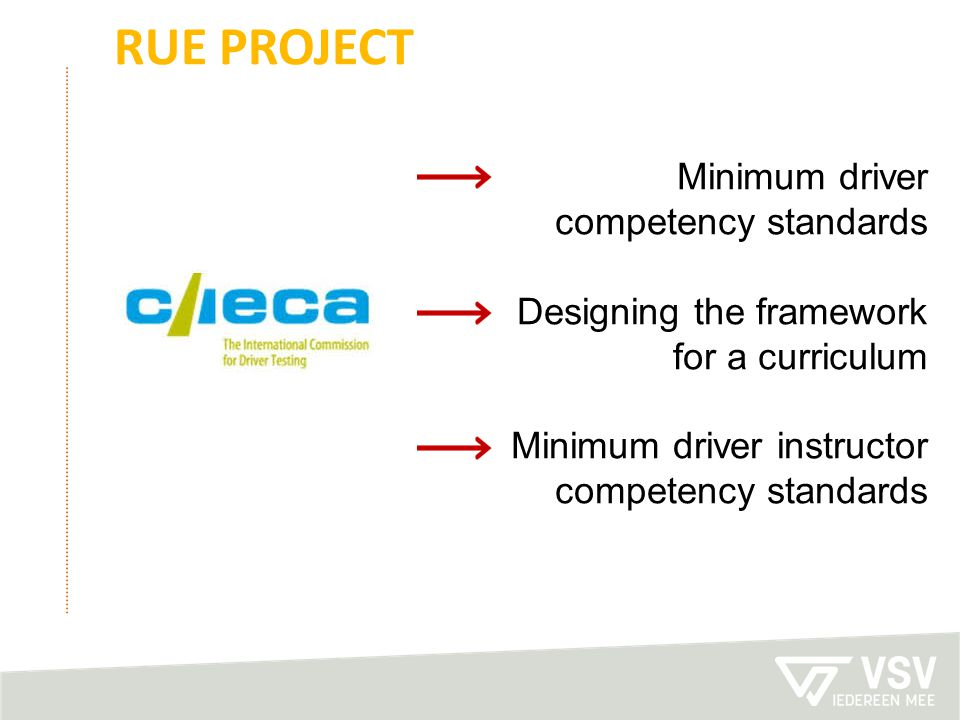 Rue project Minimum driver competency standards