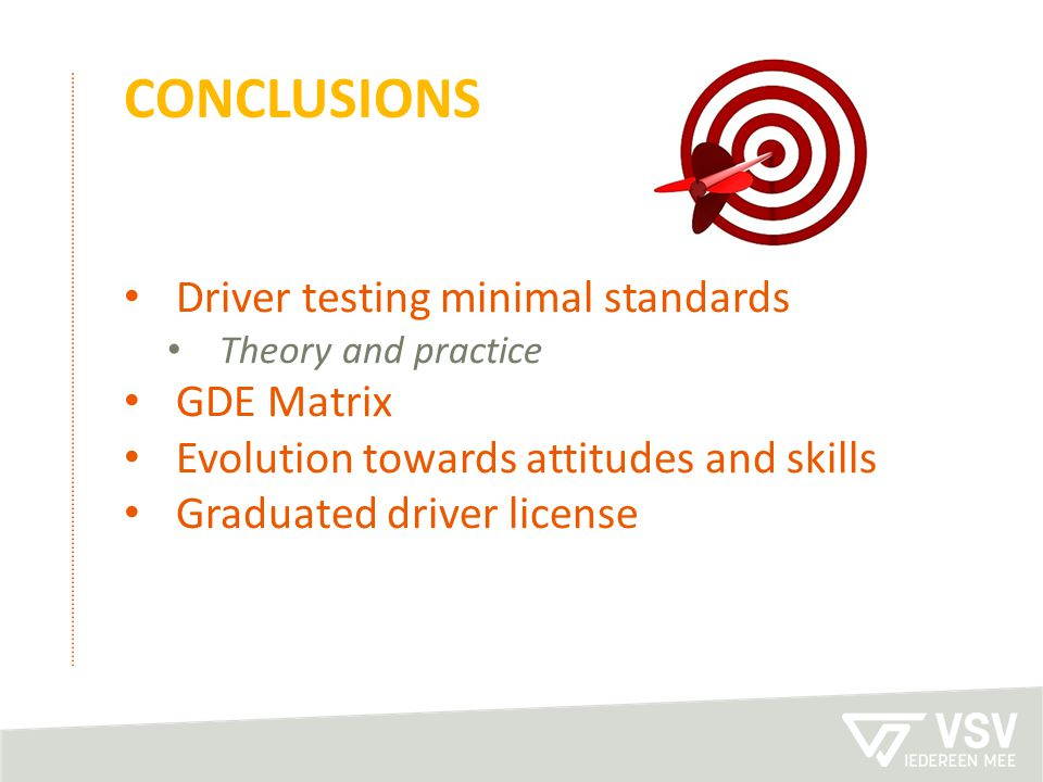 conclusions Driver testing minimal standards GDE Matrix