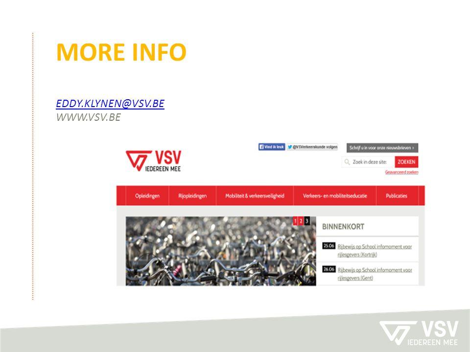 MOre info eddy.klynen@vsv.be www.vSV.be