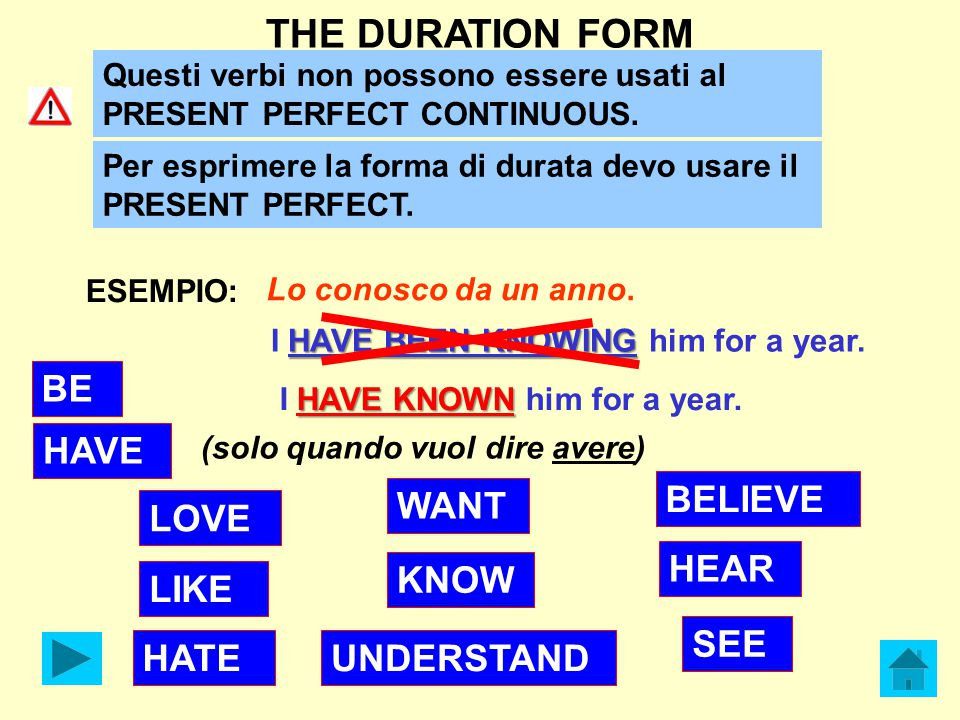 THE DURATION FORM BE HAVE BELIEVE WANT LOVE HEAR KNOW LIKE SEE HATE